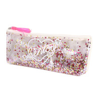 прозрачная сумка для пера оптовых-PVC Toiletry Bags Girl Transparent Sequin Women  Bag Pouch Tassel Bag Cosmetic Stationery Zipper student Pen Pencil Case