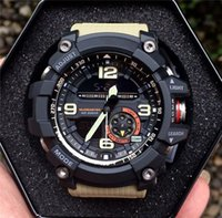 Wholesale led watches digital sports men resale online - Shock Sport Watch Waterproof Military Rubber G Sports Watches Compass thermometer WristWatches LED High Quality Men Watches