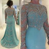 dantel elbiseleri taşlar toptan satış-Gelin Modelleri Dantel Aplike Boncuklu Taşları 2020 Uzun Kollu Saten Mermaid Anne Örgün Parti Balo Akşam Anne Elbise