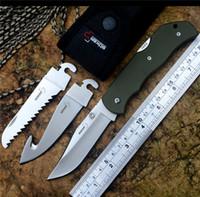 facas de boker venda por atacado-Três em uma faca de desmontagem multifuncional com gancho Gut e serrilhada lâmina BOKER BO109 lâmina de cetim Verde G10 lidar com caça ao ar livre