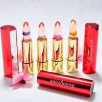 ingrosso gelatina di fiori di rosa-New Magic Colour Temperature Change Lipstick Flower Gelatina Rossetto Trucco Lip Blam Rosa Trasparente Idratante Lucidalabbra Con Specchio