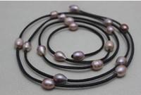 natürliche perle 48 zoll großhandel-New Arriver Leder Perlenschmuck Dunkelgrau Leder Natürliche Lila Süßwasser Perlenkette 10x12mm 48 zoll