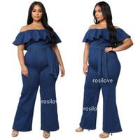 combinaison moulante achat en gros de-2019 jeans pour femmes, plus la taille des barboteuses pour les femmes, jeans en une seule pièce Combinaisons à épaules dénudées Costume sexy moulant Combinaisons décontractées Taille XL-4XL