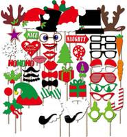 masken für fotokabine großhandel-76 teile / los Lustige Photo Booth Requisiten Geburtstag Hochzeit Requisiten Masken für Weihnachten Halloween Roten Lippen Gläser Schnurrbart Party Dekorationen
