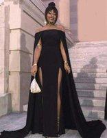 vestido preto revelador venda por atacado-Simples preto Sexy longo revelando Africano vestido de noite formal mulheres tropicais vestidos de noite feitos na China