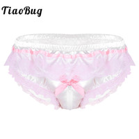 ingrosso biancheria intima sexy degli uomini lucido-TiaoBug Men Shiny Satin Hot Sissy Mutandine Lingerie Pink Ruffle Floral Lace Open Zipper Biforo High Cut Briefs Sexy Gay Underwear