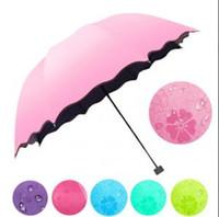 guarda-chuva muda de cor venda por atacado-Mudança de Cor da flor Umbrella Três Dobras Magia À Prova de Vento Anti UV Chuva de Chuva Ao Ar Livre Dobrável Umbrella Chuva Engrenagem OOA6149