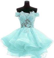 Cute Mint Green Vestidos De Cóctel 2019 Short Pink Evening Pown Off Lace Hombro A Line Ocasión Especial Para Mujer Mini Vestidos 157