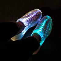 zapatillas de deporte blancas usb al por mayor-Tamaño 25-46 Baile de fibra óptica de verano para niñas, hombres, mujeres USB Recarga reluciente Zapatillas de deporte de baile rosa blanco negro iluminar zapatos