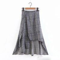 saia de lã coreana venda por atacado-Mulheres Do Vintage Saias Xadrez Outono-Inverno Meninas Frente Curto de Volta Longa Saia Peludo Senhoras Coreanas de Lã Doce Midi Jupe Femme