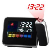 proyector led funcionando al por mayor-Reloj de tiempo Proyector Multifunción Relojes de alarma digitales Pantalla en color Reloj de escritorio Clima Calendario Tiempo Proyector DBC VT0235