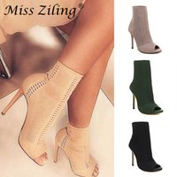 meias abertas para a moda venda por atacado-Womens botas verdes Elastic Knit Sock Botas Ladies Open Toe Salto Alto Moda Kardashian Ankle Boots Mulheres Bombas
