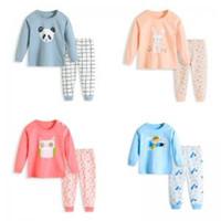 Wholesale underwear baby cartoon resale online - Kids Cartoon Homewear Set Child Cute Pajamas Sleepwear Pullover Baby Underwear Nightwear pieces Children Home Clothes LLA178