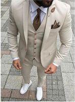 ingrosso blazers tre pezzi per gli uomini-Smoking da sposa beige Groomsmen Slim Fit Best Man Blazer Business formale Tre pezzi da uomo (giacca + pantaloni + gilet + cravatta)