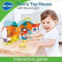 ingrosso mobili per bambini in miniatura della bambola-Hola 3128A Simulation House Miniature Furniture DollHouse Accessori Giocattoli Set di mobili in legno Bambole Baby Room For Kids Play Gift
