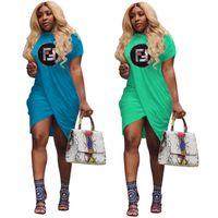 Wholesale knee length dresses for sale for sale - Summer Women sequins FF Letter Print Dress summer ruffle Dressess Round Neck Skirts Loose T Shirt Dresses For Women Party Wear sale C42408
