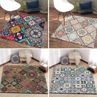 Wholesale cream color carpet for sale - Group buy Ethnic style Bohemian color carpet floral square area rugs living room bedroom carpet table chairs parlor kitchen door floor mat