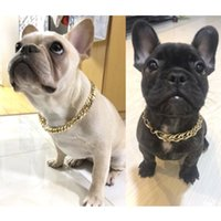 Wholesale dog collar jewelry resale online - Teddy Pagoda Dog Bully Gold Chain Dog Collar Pet Necklace Jewelry Accessories collari per cani Pet Protective dog Pet harness Cheap