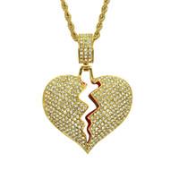 parejas de corazón roto colgante al por mayor-Iced Broken Heart Necklace Colgante Con Cadena de Tenis de Color Oro Collares de Pareja Cubic Zircon Joyería de Hip hop de los hombres Para Regalo
