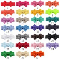 Wholesale hair bows for infant girls resale online - Cute infant headband bow hairband baby boys girls headwear rose nylon solid colors hair accessories for different colors