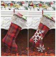 носки для конфет оптовых-Рождественские чулки Декор Рождественские елки Украшения для вечеринок Санта-Клаус Рождественский чулок Конфеты Носки Сумки Рождественские подарки Сумка