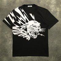roupa dos homens dos homens do impressão do leopardo venda por atacado-20ss dos homens camisetas leopardo Pentagram T homens de impressão roupa rótulo de manga curta mulheres camisas tag
