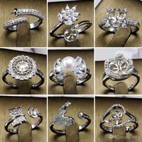 925 silberrohlinge großhandel-Perle Ringe Einstellung Zirkon Solide 925 Silber Ring Einstellung Ring Montage Ring Blank DIY Schmuck 50 Styles DIY Geschenk