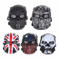 máscara de crânio ao ar livre venda por atacado-Airsoft Paintball Máscara Do Partido Crânio Máscara Facial Completa Do Exército Jogos de Metal Ao Ar Livre Malha Olho Escudo Traje para o Dia Das Bruxas Fontes Do Partido