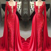envoltório formal vermelho venda por atacado-2019 New Red Lace Vestidos de Noite Sheer Neck com Envoltório Festa Formal Vestidos de Baile Árabe Pageant Red Carpet Vedidos