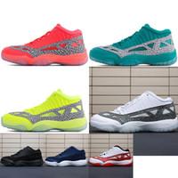 sports shoes b9700 db501 Retro Mens 11s baixa ou seja, tênis de basquete marca-texto Vermelho Verde  Azul Oreo Preto Branco BHM juventude crianças Jumpman 11 XI baixos tênis  botas ...