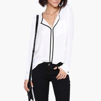 bayanlar siyah polyester bluz toptan satış-Sonbahar Kadınlar Gömlek Casual Beyaz Uzun Tam Kol Vintage Kadınlar Siyah Yan şifon Bayan Bluz Gömlek Çalışma Ofisi Wear