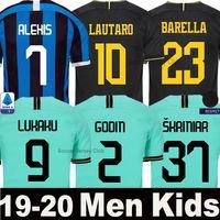 entre milan jersey niños al por mayor-19 20 LUKAKU ALEXIS Camiseta de fútbol Inter Milan Milán 2019 2020 LAUTARO SKRINIAR BARELLA POLITANO Tercer equipo de portero de fútbol visitante Hombre Niños conjunto uniforme