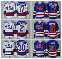 maillots de détail achat en gros de-1980 USA Hockey 21 Mike Eruzione Jersey Hommes Bleu Blanc 30 Jim Craig 17 Jack Ocallahan Maillots Broderie Et Coudre En Gros Et Au Détail