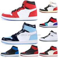 boîtes poly achat en gros de-Avec la boîte 1 haut interdit OG de race Black Spider-Man UNC 1s top 3 chaussures de basketball en hommage à la maison Royal Blue Men Sport Sneakers