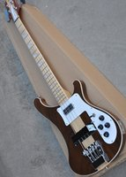 Wholesale custom made electric guitars resale online - New Arrival Strings brown neck electric bass guitar with maple fingerboard white binding custom made