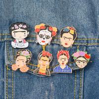 handgemachter schal rosa großhandel-HQ Frida Kahlo Maler Mexikanische Künstler Emaille Pins Frauen Metall Dekoration Brosche Taste Anstecknadel Männer Brosche Schmuck Geschenk