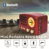 usb şarj edilebilir hoparlörler toptan satış-Bluetooth Retro Radyo El Alıcı AM FM Hoparlör AUX, USB TF MP3 Telefon Müzik Çalar Şarj edilebilir Radyo