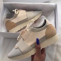 zapatos de marca de moda al por mayor-Con la caja de zapatos de diseñador Race Paris para mujer Zapatos casuales Nueva marca Pisos de moda baratos Corredores Zapatos de lujo en punta Hombre con bolsa