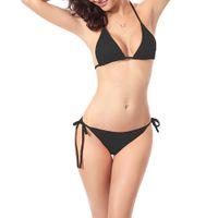 регулируемое бикини оптовых-Womens Brazilian Style Sexy Two Piece Bikini Set Multi Colors Adjustable Strappy Bandage Swimsuit Classic Side Tie Triangle Bott