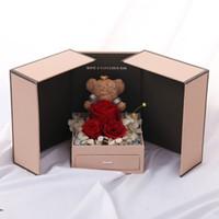 decoração do carro de casamento preto venda por atacado-Everlasting flores Rosa Flor Urso Segurar Gaveta Grande Presente Da Caixa de presente de Jóias Namorados Dia Namoradas Esposa Aniversário Surpresa