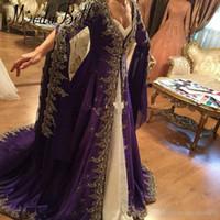 nakış dantel gece elbisesi uzun kol toptan satış-Arapça Dantel Uzun Kollu Gelinlik nakış Ile Müslüman Dubai Parti Elbiseler 2017 Glamorous Mor Türk Abiye giyim Örgün giymek