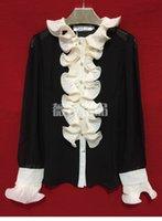 schwarze rüschenbluse frauen groihandel-2019 neue Frauen retro königlichen Artrüschen Patchwork Perlmuttknöpfen lange Ärmel schwarze Farbe Chiffon Bluse Shirt S M L XL