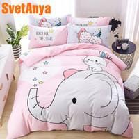 Wholesale pure linen bedding for sale - Group buy Svetanya pink Elephant Bedding Set pure Cotton Single Double Queen size Bed Linen