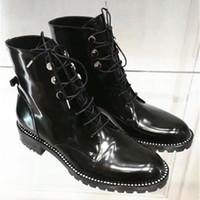 botas delanteras de encaje de cuero de las mujeres al por mayor-Front Lace Up Botines de Mujer Patentes Negras Botas de Mujer Zapatos Casuales Mujer Otoño Invierno Bloque Tacones Knight Boots
