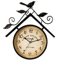 relógios de pássaro de quartzo venda por atacado-Criativo Relógio de Parede Do Vintage Antigo Sala de estar Dupla Face Digital Quartz Silencioso Duvar Saati Pássaro Decoração Da Parede Rústica WKP410