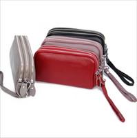 кожаная сумка оптовых-Top Cattle Leather 2019 Новая трехслойная женская сумка с длинным кошельком и многофункциональной кожаной сумкой для мобильного телефона с принтом личи