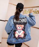 jeans coreano mulheres venda por atacado-2019 início da primavera mulheres jaqueta jeans nova coreano solto moda faculdade solta letra selvagem bordado curto denim jaqueta feminina