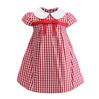 venta vestidos rojos para las niñas al por mayor-2019 venta caliente rojo a cuadros blanco niñas de manga corta vestido blanco cuello delantal niños niñas ropa con arco