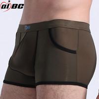 boxers para hombre bolsillos al por mayor-AIBC hombres sexy ropa interior gay ultradelgado boxeadores de seda de hielo pequeños bolsillos genuinos jóvenes Mens Underwear Boxers al por mayor