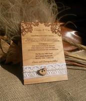 gravierte einladungen großhandel-Personalisierte Hochzeitseinladungen / rustikale Hochzeitseinladungen / Lace Einladungen / Holz graviert